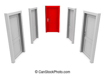 porte, choisir, rouges