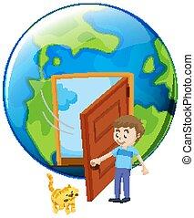 porte, chouchou, chat, ouverture, homme, la terre