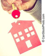 porte clés, à, maison, pendant.