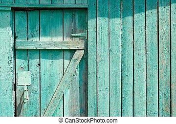 porte, copyspace, barrière, bois, partie, vert