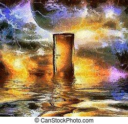 porte, cosmique, espace