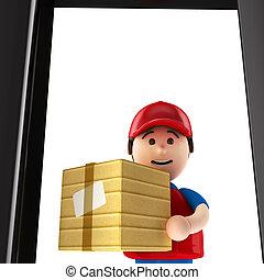 porte, courrier, paquet