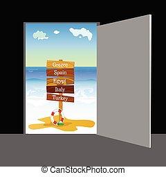 porte, deux, illustration, derrière, vecteur, partie, plage