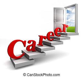 porte, escalier, carrière, haut, mot, ouvert