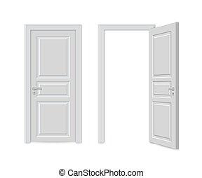 porte, fin, ouvert, réaliste