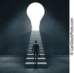 porte, formulaire, marche, lightbulb., homme affaires, ouvert