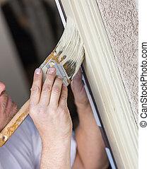 porte, frame., peinture bâtiments, découpage, brosse, professionnel, peintre