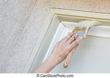 porte, garage, cadre, peinture, découpage, brosse, professionnel, peintre
