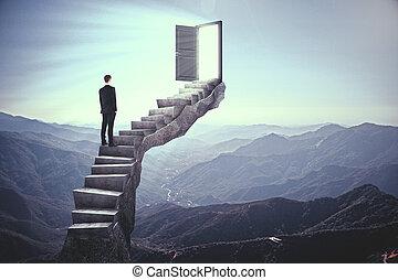 porte, homme affaires, escalier