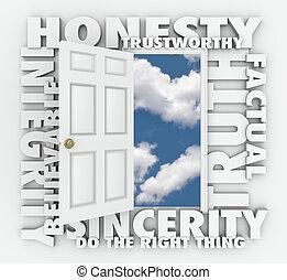 porte, honnêteté, réputation, vérité, mot, intégrité, 3d