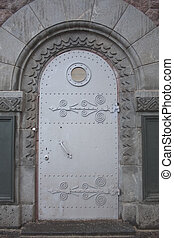 porte, hublot, nautique, fenêtre, métal