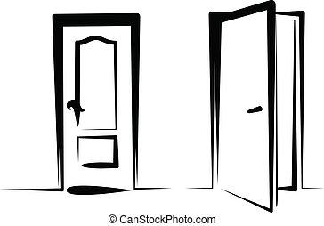 Clip art et illustrations de porte 244 546 graphiques for Porte ouverte dessin