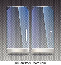 porte, illustration., bureau, porte verre, boutique, centre commercial, métal, isolé, ombres, poignées, vecteur, arrière-plan., magasin, 3d, transparent, reflet