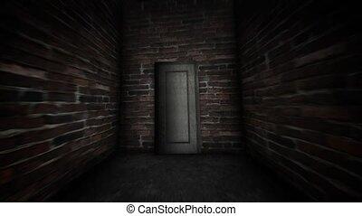 porte, interdit, door., sombre, mystérieux, corridor.