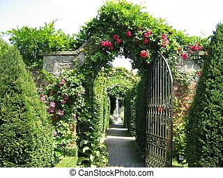 porte jardin, à, a, fontaine