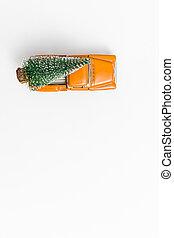 porte, jaune, dos, fête, fond, arbre, voiture, cadeau, noël, delivery., sommet, trend., space., isolé, miniature, concept, vue., blanc, humeur, sauver