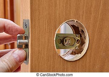 porte, laiton, poignées, intérieur, latch., bois, remplace, charpentier, lock., trou