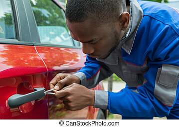 porte, mécanicien, voiture, tenue, ouvert, lockpicker