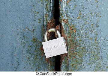 porte, métal, cadenas, vieux, fermé, nouveau