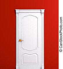 porte, maison bois, détail, intérieur, blanc