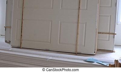 porte, maison, logement, nouveau, installed, intérieur, projet, installation, construction, drywall