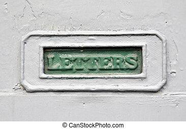 porte, maison, métal, gris, boîte lettres, moule, vert, mot, lettres, peintre