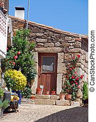porte, maison, pierre, fleurs, vieux
