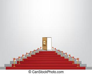 porte, mener, haut, généreux, moquette rouge