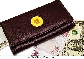 porte-monnaie, gold and dollars