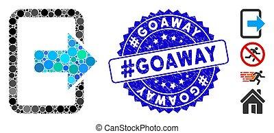 porte, mosaïque, #goaway, icône, grunge, sortie, cachet