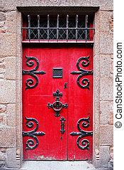 porte, moyen-âge, rouges