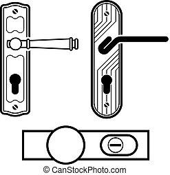 porte, noir, vecteur, poignée, icônes
