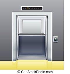 porte, ouvert, ascenseur