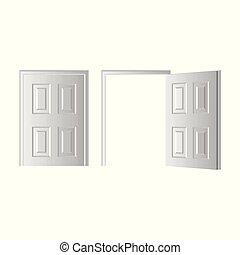 porte, ouvert, isolé, illustration, arrière-plan., vecteur, fermé, blanc