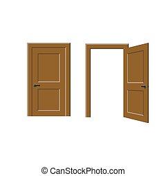 porte ouverte, fermé