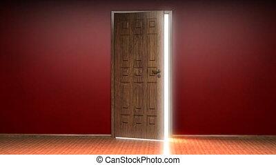 porte ouverture, fond, blanc