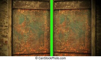 porte, ouverture, métal, écran, -, animation, vert