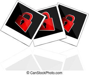 porte-photo, instant, rouges, cadenas