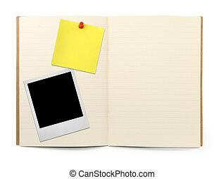 porte-photo, note jaune, livre, exercice