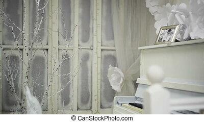porte-photo, piano, blanc