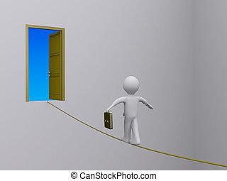 porte, portée, corde raide, homme affaires, essayer, ouvert