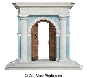 porte, portail, ouvert, classique