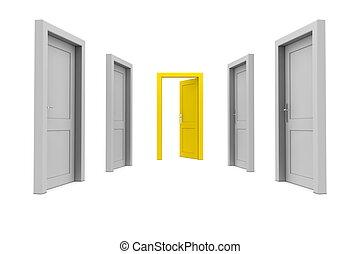 porte, prendre, jaune