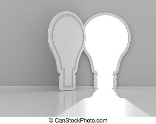porte, render, formé, lumière, copyspace, ampoule, 3d
