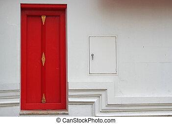 porte rouge, blanc, mur