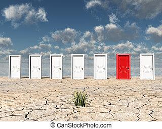 porte, rouges, une
