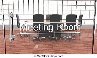 porte, salle, bureau, moderne, cristal, dehors, intérieur, réunion, vue