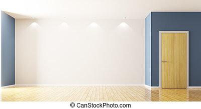 porte, salle, rendre, intérieur, vide, 3d