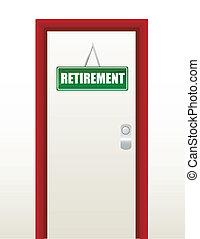 porte, signe, retraite, vert