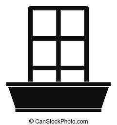 porte, simple, icône, style